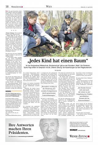 Artikel Jedes Kind hat einen Baum, Wiener Zeitung