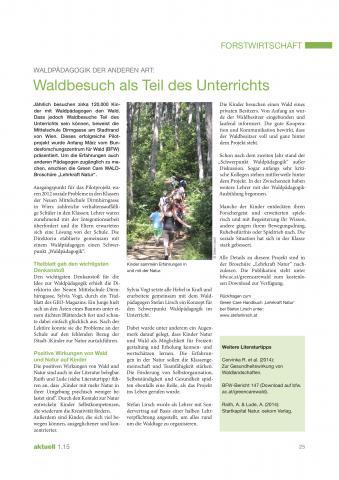 Artikel Waldbesuch als fixer Teil des Unterrichts - LFBO, aktuell