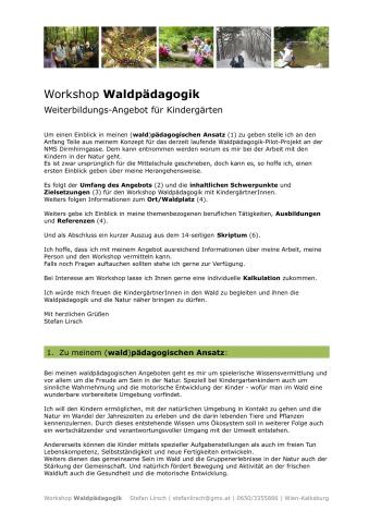 Workshop Waldpädagogik für den Kindergarten